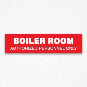 Boiler Room Door Sign in Red