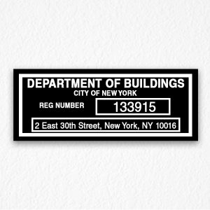 Department of Building Sign in Black