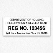 Registration Number Sign in Black Text