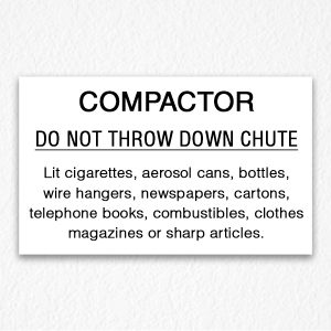 Compactor Chute Sign Black Text