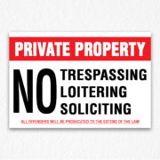 Private Property Sign Black Text