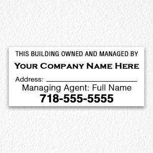 Building authorized Person Sign Black Text