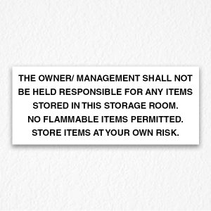 Management not Responsible Sign Black Text