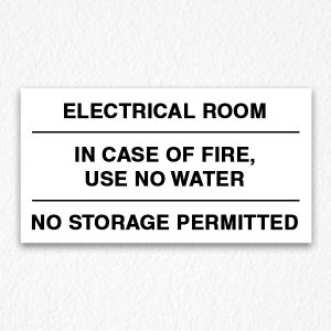 Electrical Room Sign Black Text
