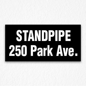 Standpipe 250 Park Ave. Sign in Black