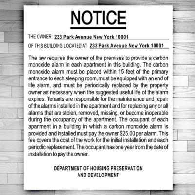Carbon monoxide detector sign