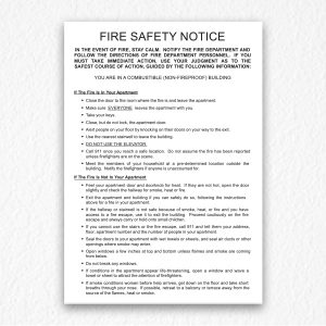 Building Fire Safety Notice in Black Text