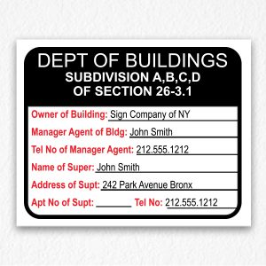 Department of Building Sign with Owner Information NYC