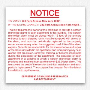 Carbon Monoxide Alarm Notice NYC in Red text