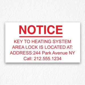 Key to Heating System Information Sign NYC in Red text