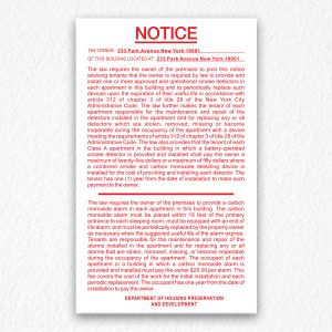 Smoke Detectors & Carbon Monoxide Notice NYC in Red Text