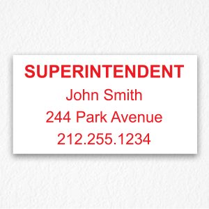 Building Superintendent Sign NYC in Red Text