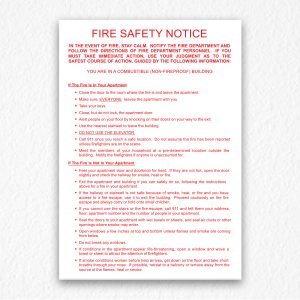 Building Fire Safety Notice in Red Text
