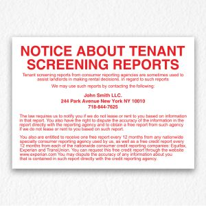 Notice About Tenant Screening Reports in Red Text