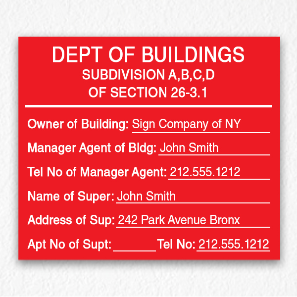 Department of Building Sign in Red