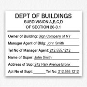 Department of Building Sign