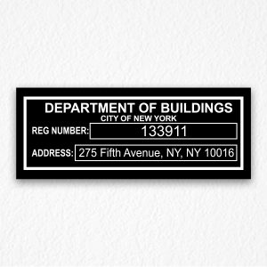 Department of Buildings Signs NYC in Black