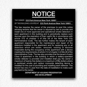 Building Smoke Detectors Notice NYC in Black