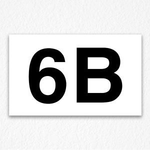 6B Room Number Sign in Black Text