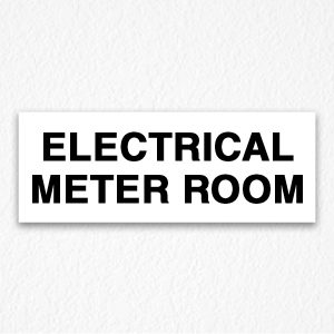 Electrical Meter Room Sign in Black Text