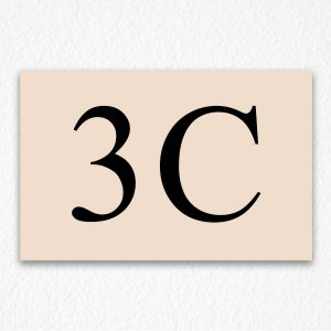 3C Room Number Sign in Black text