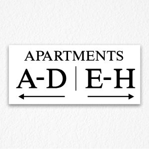 Apartment Number Directional Sign in Black Text
