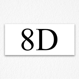 8D Apartment Number Sign in Black Text