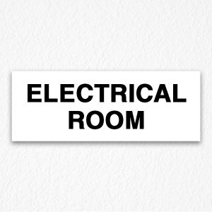 Building Electrical Room Sign in Black Text