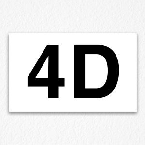 4D Room Number Sign in Black Text