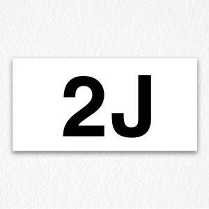2J Room Number Sign in Black Text