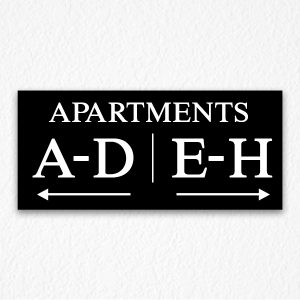 Apartment Number Directional Sign in Black