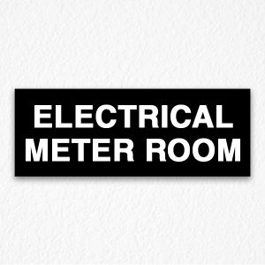 Electrical Meter Room Sign on Black