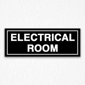 Electrical Room Sign on Black