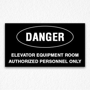 Elevator Room Danger Sign on Black