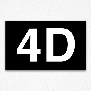 4D Room Number Sign in Black