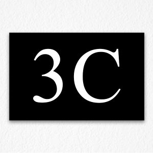 3C Room Number Sign in Black
