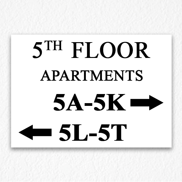 Floor Number And Apartment Directional Sign In Black Text