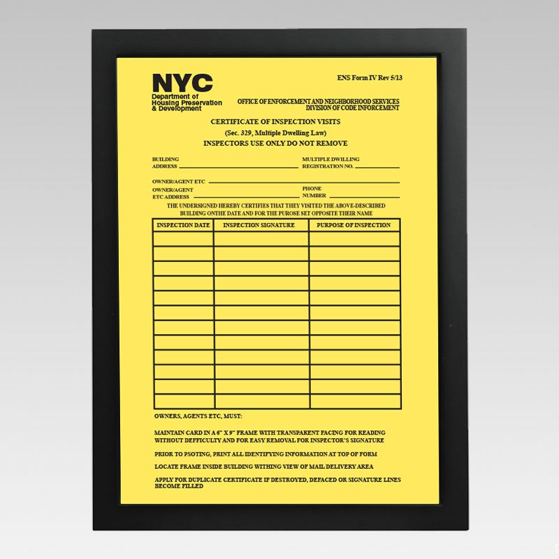 Building Registration Number Sign Hpd Signs Nyc